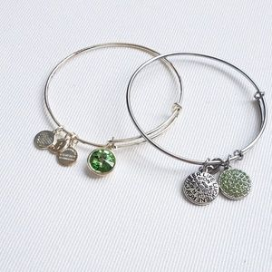Green and Silver Charm Bracelet Set (2)